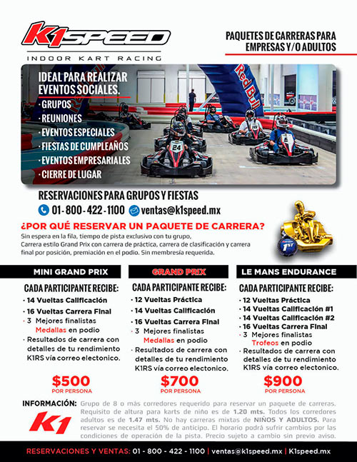 k1 speed paquetes adultos