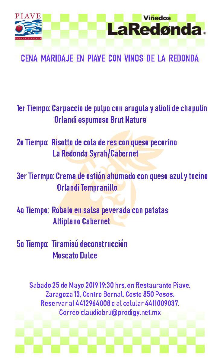 Piave - Cena Maridaje La Redonda - 29 mayo