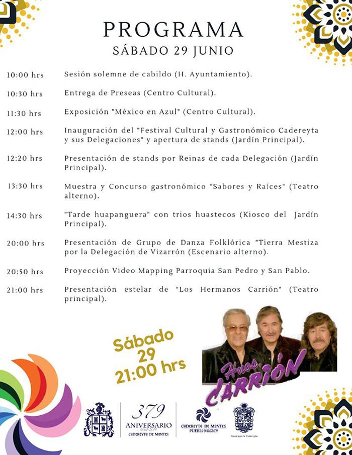 """Festival Cultural Gastronómico """"Cadereyta y sus Delegaciones"""" 2019 - Programa 1"""