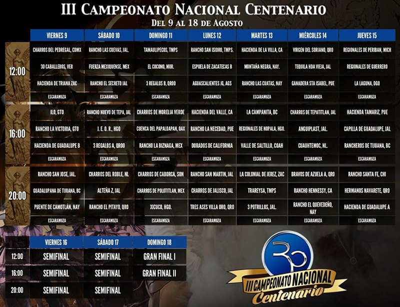 El Pitayo - Campeonato Nacional de Charros 2019 - Programa